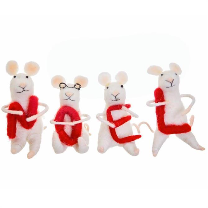Sass & Belle Noel Felt Mice Standing Decoration