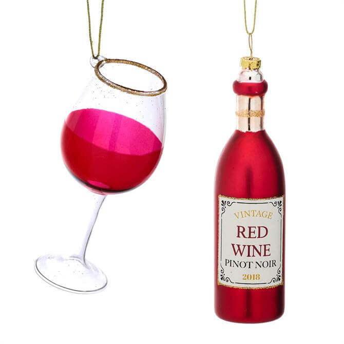 Sass & Belle Christmas Cheer Red Wine & Glass Shaped Bauble Set of 2
