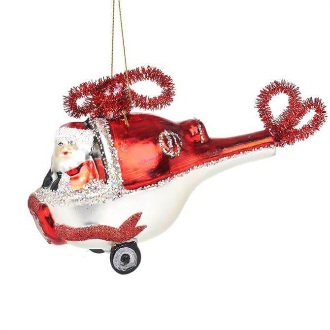 Sass & Belle Santa in a Helicopter Shaped Bauble