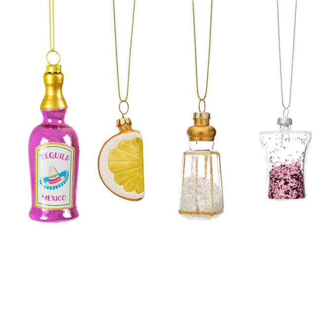 Sass & Belle Christmas Cheer Tequila Shaped Bauble Set of 4