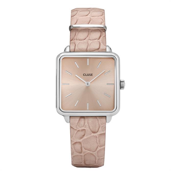 Cluse La Tétragone Silver/Soft Almond Alligator Watch
