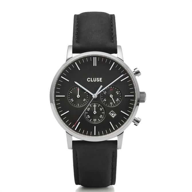 Cluse Aravis Chronograph Black/Silver Mens Watch