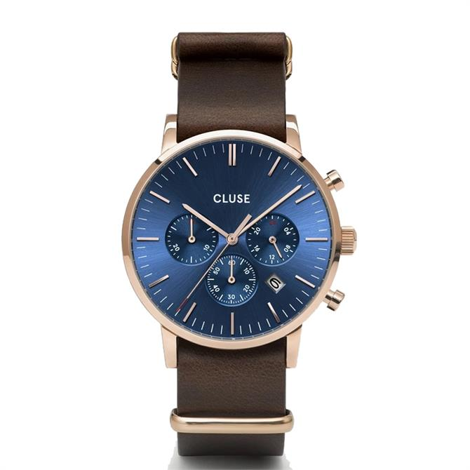 Cluse Aravis Chronograph Dark Blue/Brown Leather Mens Watch