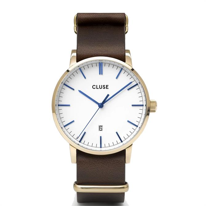 Cluse Aravis Gold/White/Brown Mens Watch