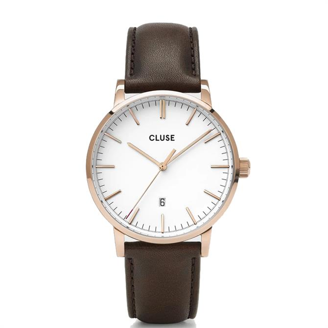 Cluse Aravis Rose Gold/White/Brown Mens Watch