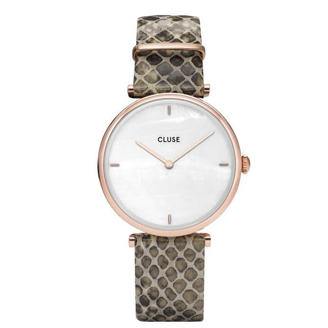 Cluse Triomphe Rose Gold White Pearl/Soft Almond Python Strap Watch