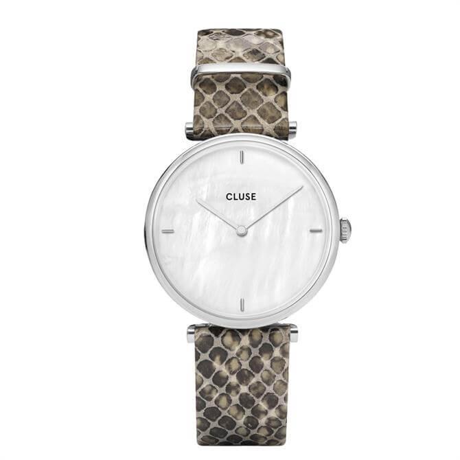 Cluse Triomphe Silver White Pearl/Soft Grey Python Strap Watch