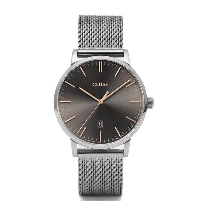Cluse Aravis Silver/Dark Grey Mens Mesh Watch