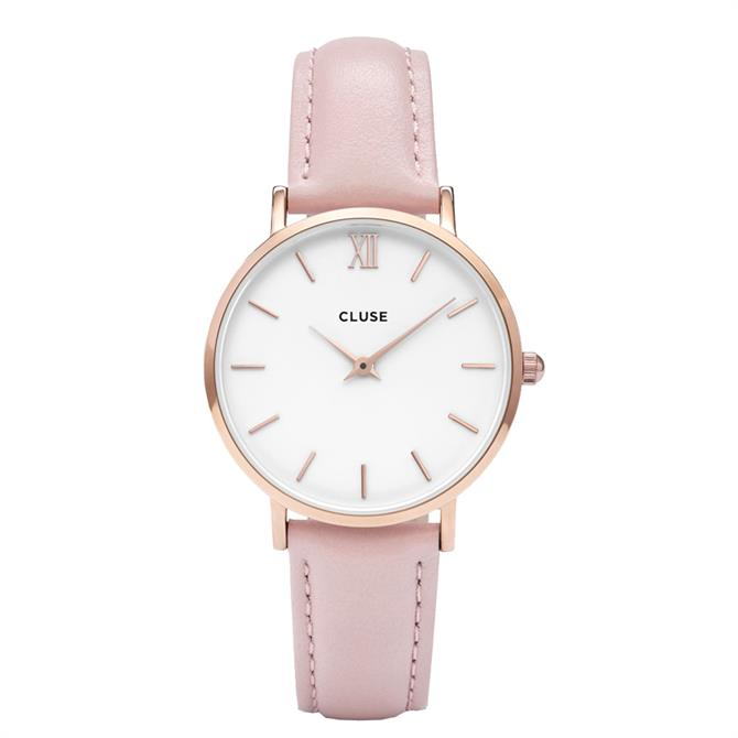 Cluse Minuit Rose Gold & Pink Watch