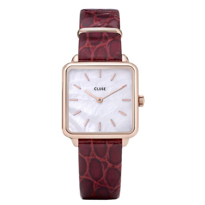 Cluse La Tétragone Rose Gold & Red Watch
