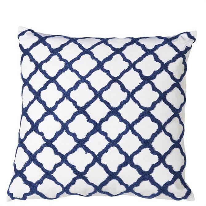 Coach House Blue & White Quatrefoil Feather Cushion