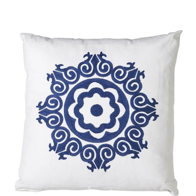 Coach House Blue & White Embroidered Floral Cushion