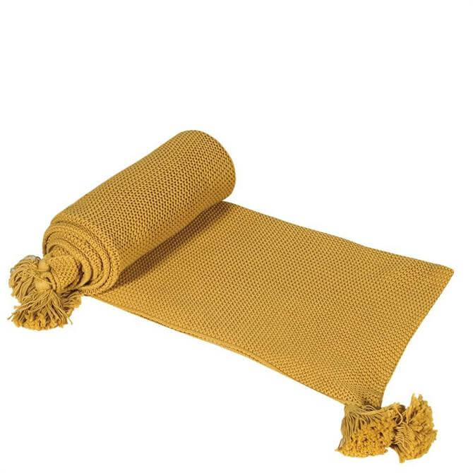 Coach House Knitted Mustard Throw