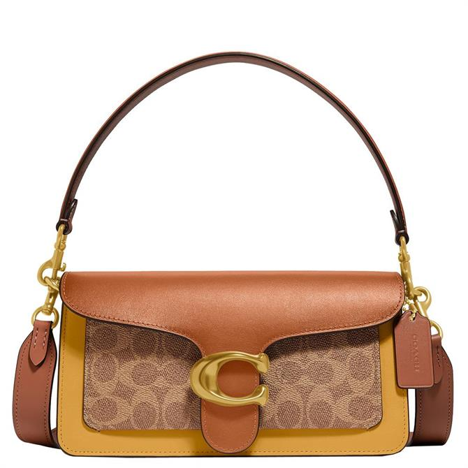 Coach Tabby Shoulder Bag 26 In Tan Canyon Multi Colorblock Signature Canvas