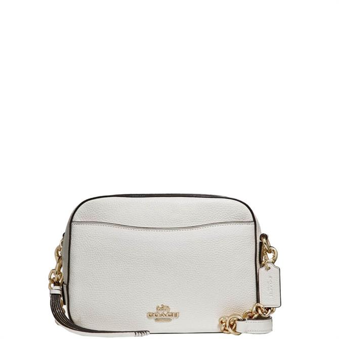 Coach White Pebble Leather Camera Bag