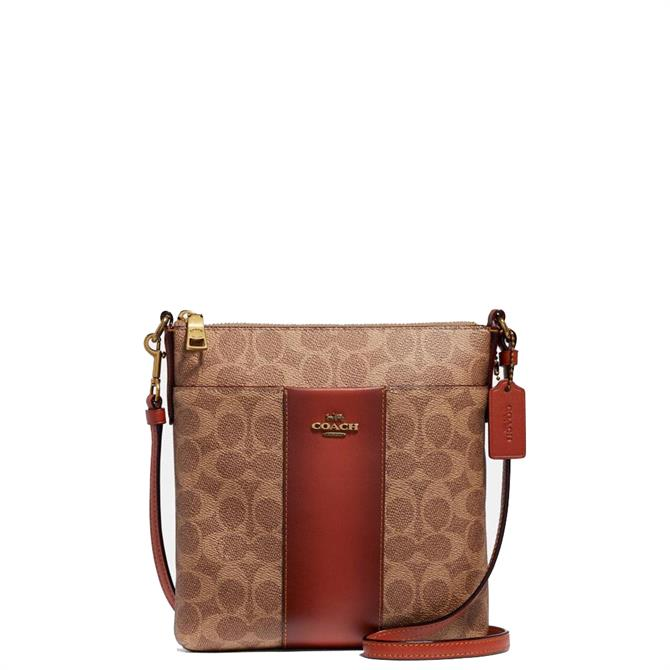 Coach Messenger Crossbody in Tan Rust Colourblock Signature Canvas