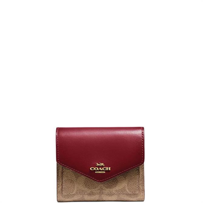 Coach Colourblock Signature Canvas Tan Rust Small Wallet