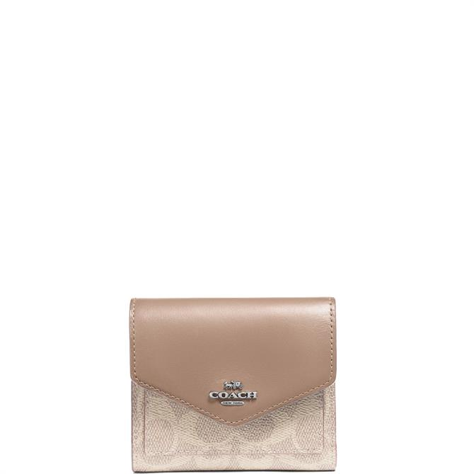 Coach Colourblock Signature Canvas Taupe Small Wallet