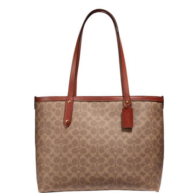 Coach Signature Canvas Tan/Rust Central Zip Tote Bag