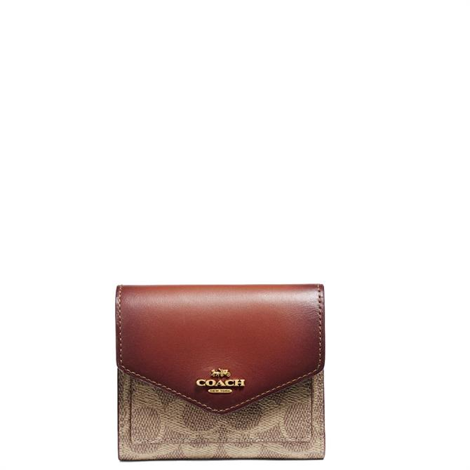 Coach Small Wallet in Colourblock Tan Rust Signature Canvas