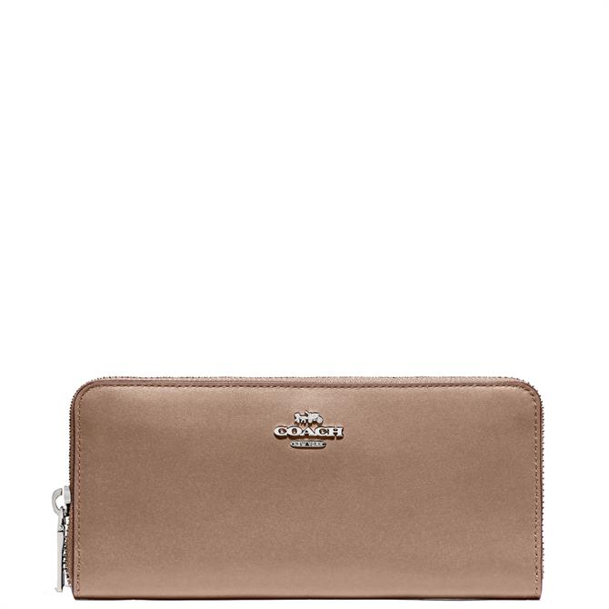 Coach Smooth Leather Taupe Accordion Slim Zip Wallet