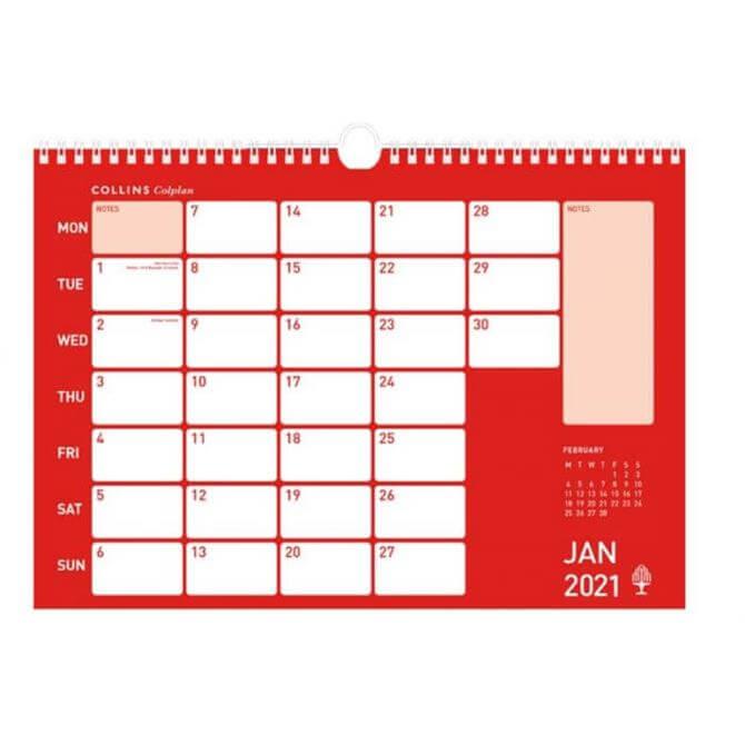 Collins Colplan - 2021 Memo Calendar - A3 Monthly