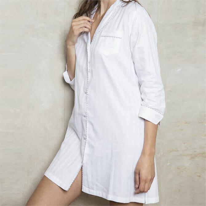 Cottoreal Superfine Cotton Shadow Stripe Night Shirt