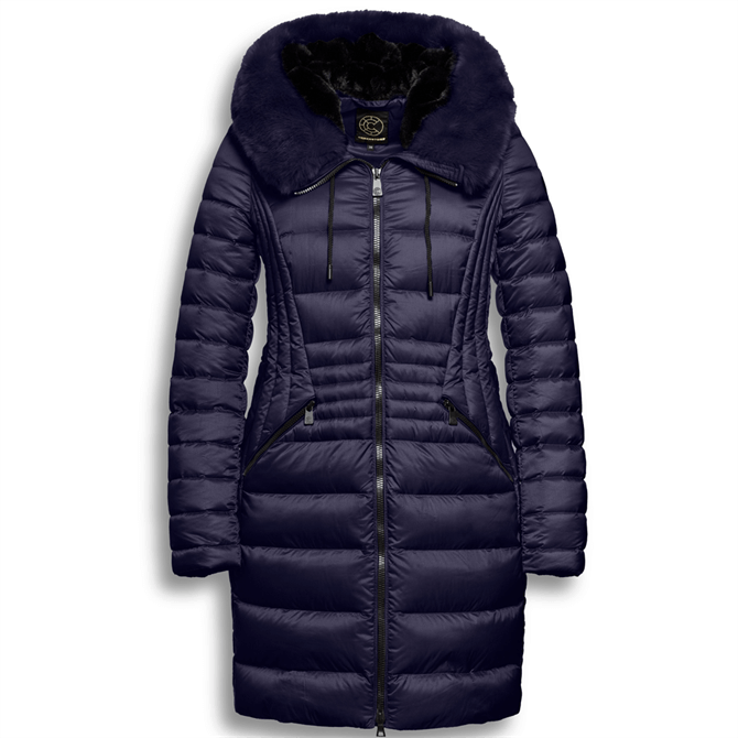 Creenstone Elena Fur Trim Quilted Fitted Coat