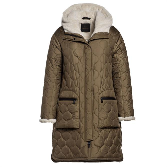 Creenstone Lightweight Faux Fur Trim Quilted Coat