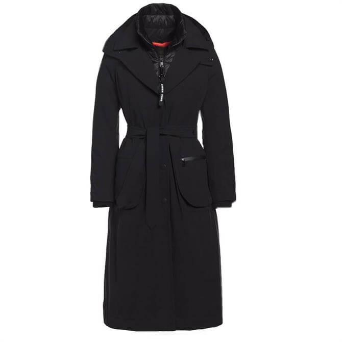 Creenstone Long Padded Black Trench Coat