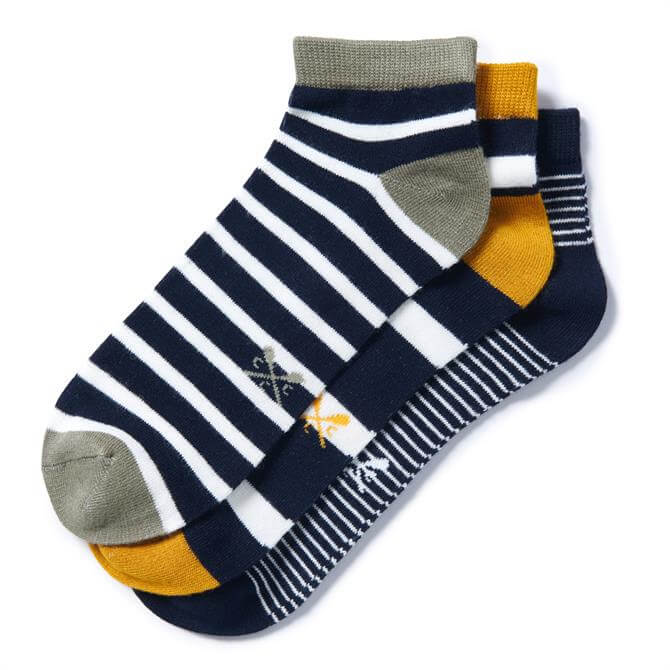Crew Clothing 3 Pack Striped Trainer Socks