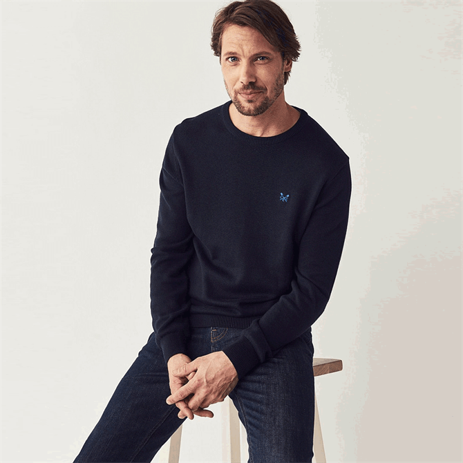 Crew Clothing Foxley Crew Neck Navy Jumper