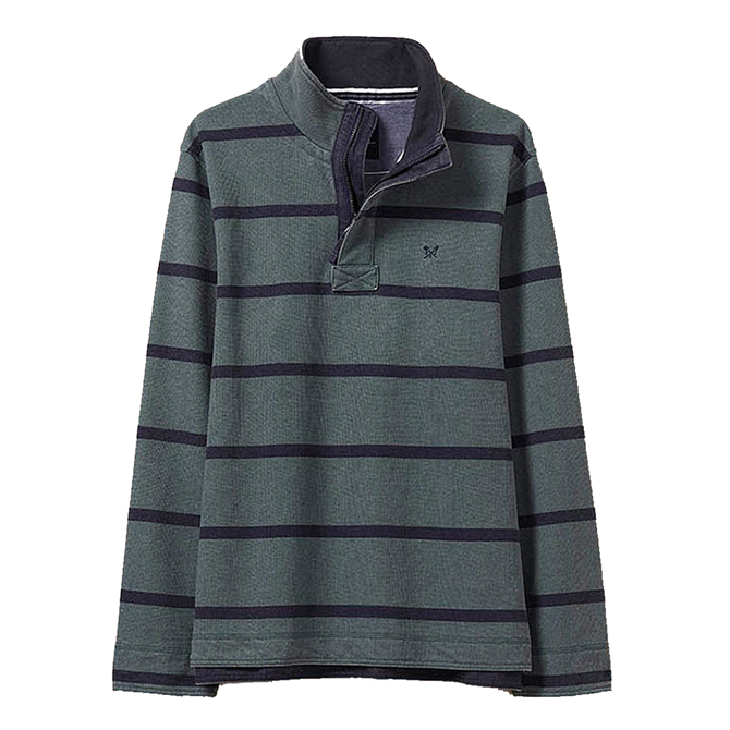 Crew Clothing Padstow Piqué Sweatshirt - Fern and Navy