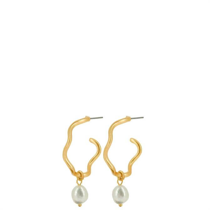 Dansk Audrey Curve Earrings with Freshwater Pearls