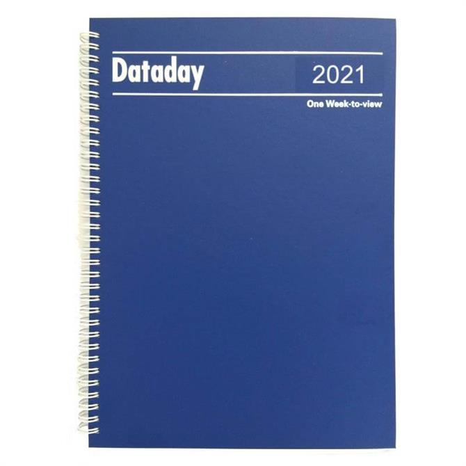 Dataday 2021 One Week-to-View Essential A4 Desk Diary- Assorted Colours
