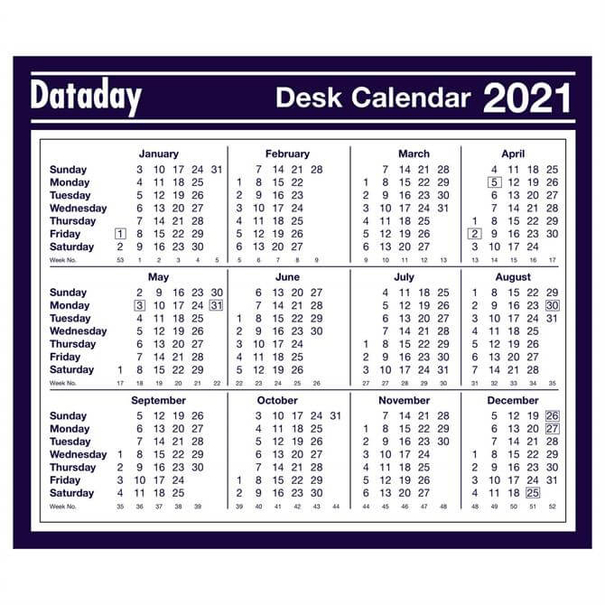 Dataday 2021 Year to View Calendar