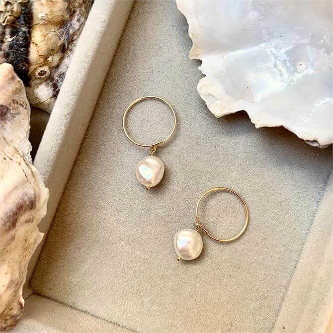 Decadorn Sea Pearl Mini Hoop Earrings