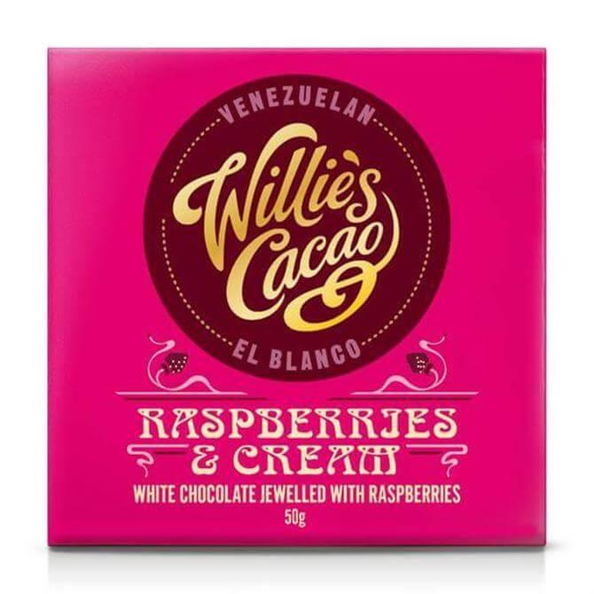 WILLIE'S CACAO RASPBERRIES & CREAM WHITE CHOCOLATE 50G