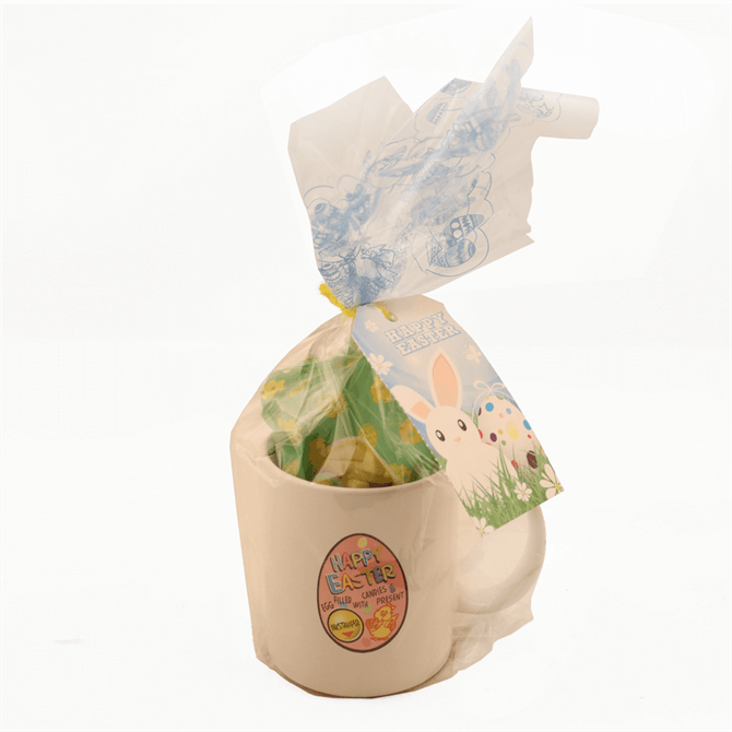 Happy Easter Mug with Milk Chocolate Egg, Candies and Present