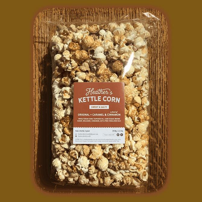 Heather's Kettle Corn Sweet & Salty Original + Caramel & Cinnamon Popcorn Mix