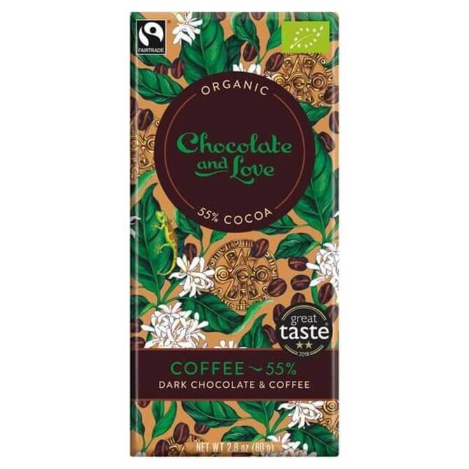 Chocolate & Love Organic Coffee & Dark Chocolate Bar 80g