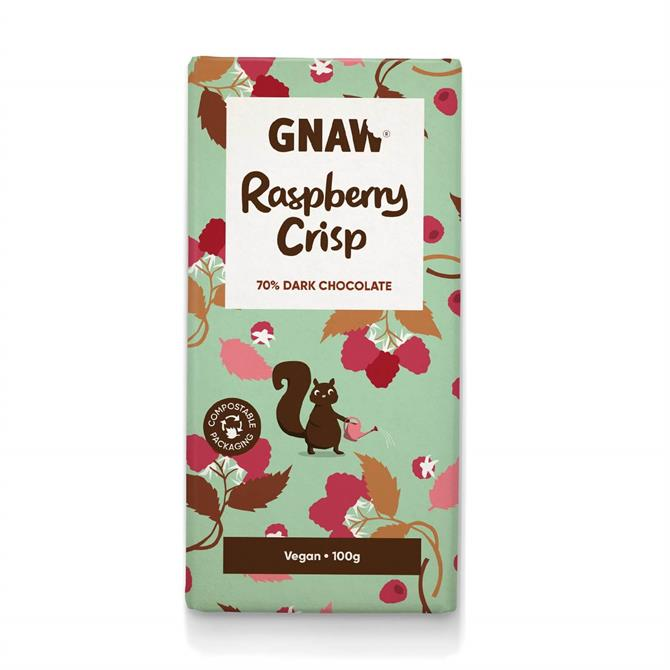 DNPL Gnaw Raspberry Crisp Dark Chocolate Bar Vegan 100g