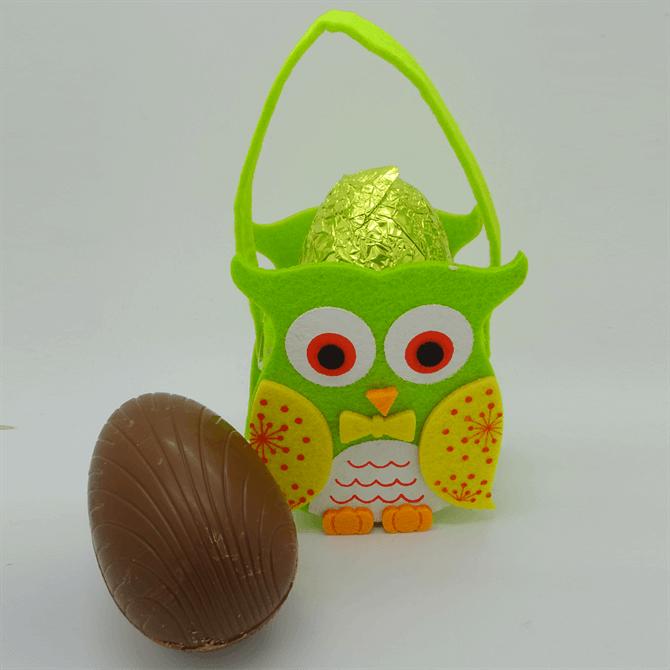 House of Flavour Owl Felt Bag with Large Milk Chocolate Egg 60g