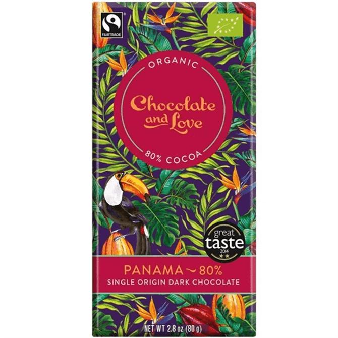Organic Fairtrade Chocolate & Love Panama Dark Chocolate Bar 80g