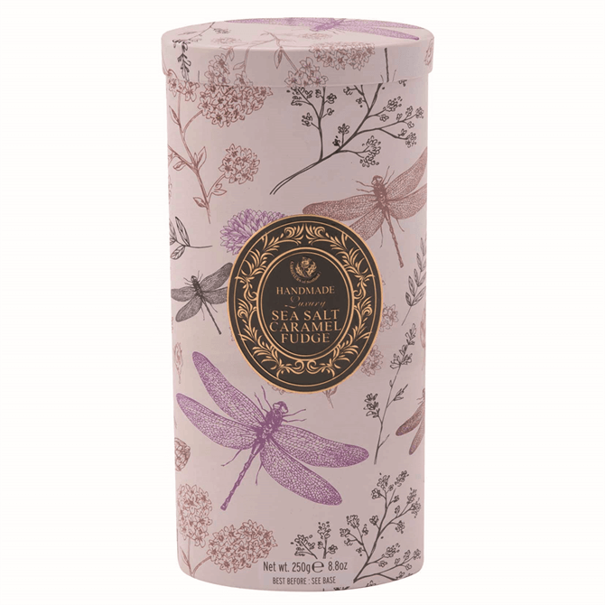 House of Sarunds Dragonfly Tin of Salted Caramel Fudge 250g