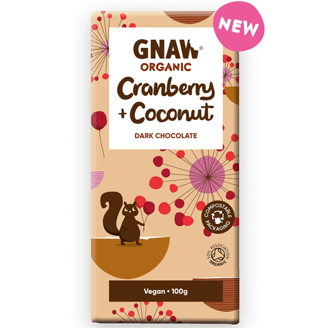 Gnaw Organic Dark Chocolate with Cranberries & Coconut 100g