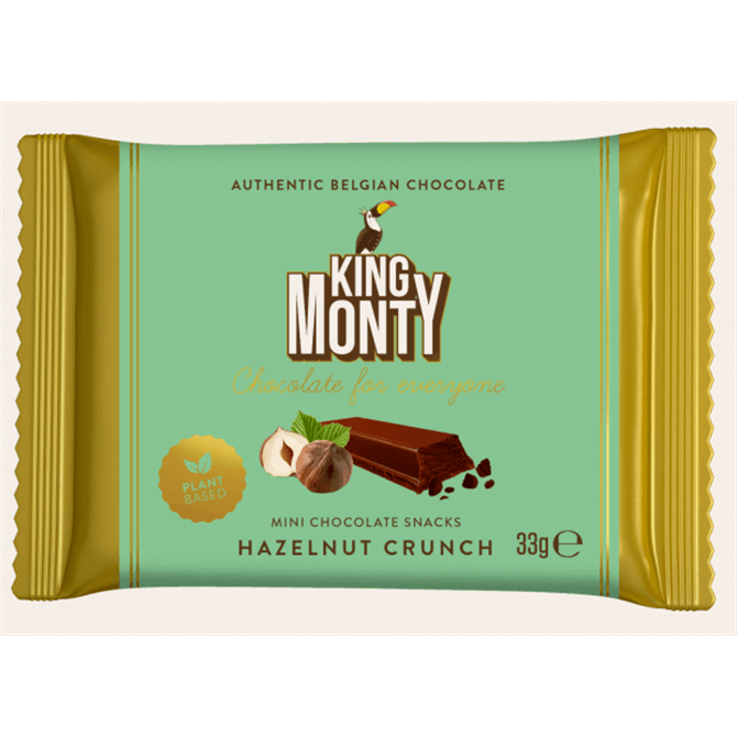 King Monty Plant Based Mini Belgian Chocolate Hazelnut Crunch Snack 33g