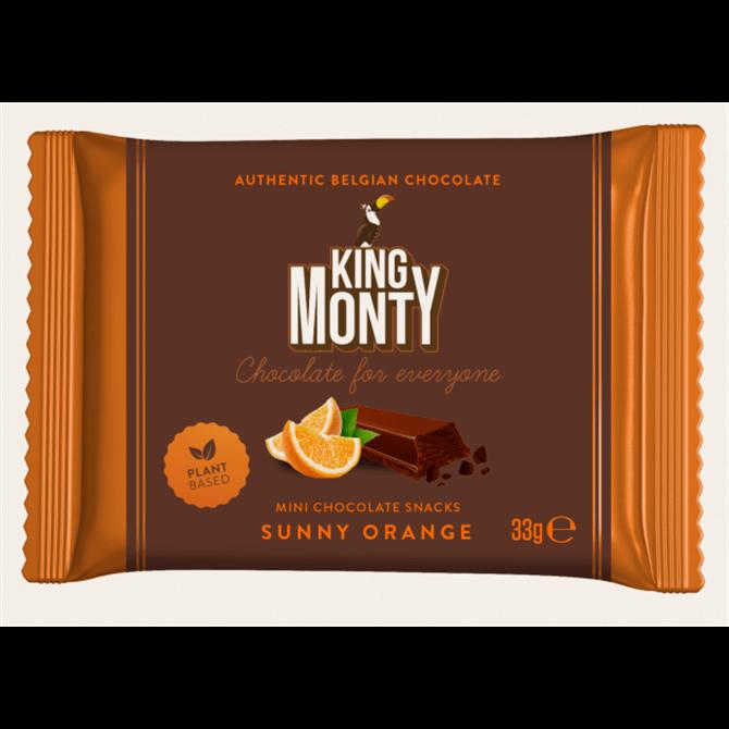 King Monty Plant Based Mini Belgian Chocolate Sunny Orange Snack 33g