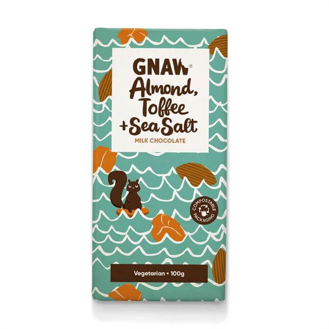 Gnaw Almond, Toffee & Sea Salt Milk Chocolate 100g