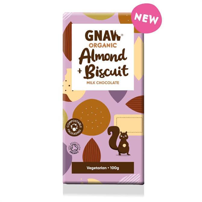 Gnaw Organic Almond & Biscuit Milk Chocolate Bar 100g